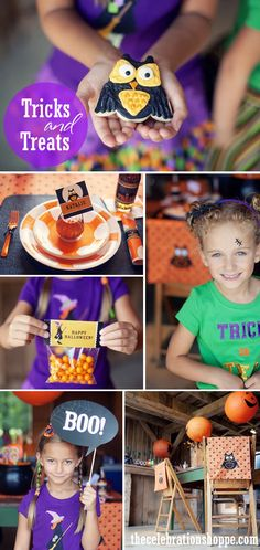 Tricks & Treats Halloween Party | Kim Byers, TheCelebrationShoppe.com #partyprintables #halloweenparty #purpleorange