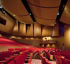 Keith C. & Elaine Johnson Wold Performing Arts Center, Lynn University (Boca Raton, Florida) Theatre Design, Hall Design, Floor Design, Lobby Interior, Interior Design, Lynn University, University Florida, Auditorium Design, Lecture Theatre