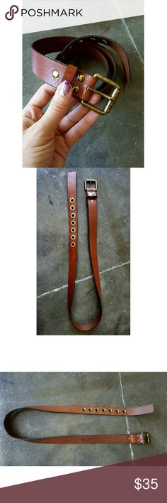 """Brown Leather Belt NEW Total length: 45in long. Width of belt slightly over 1in. (approximately 1 1/4in). Brass-y pronged round loopholes and square buckle. Classic piece that would fit in with any capsule wardrobe. First loop hole measures 35"""" waist. New, never worn and with no imperfections. Genuine cow leather. Gap Accessories Belts"""