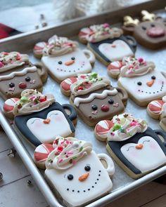 Sweet Desert Cookie Co. Cute Christmas Cookies, Iced Cookies, Christmas Sweets, Christmas Cooking, Holiday Cookies, Cookies Et Biscuits, Coffee Cookies, Fancy Cookies, Square Cookies