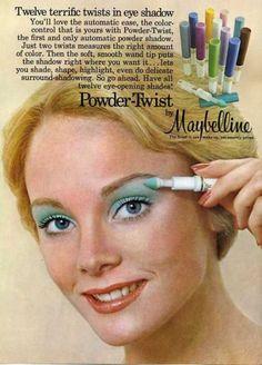 Propagandas originais dos anos 70. A maquiagem era muito colorida e em tons vibrantes