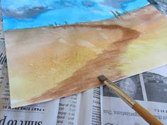 Art Lesson: Easy Watercolor Landscape Tutorial-The Unlikely Homeschool