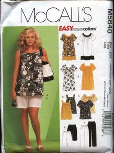 McCall's Sewing Pattern 5640 Easy Endless Options, Women's tops, dresses, shorts and capri pants.    Description: Loose-fitting, pullover top or abo