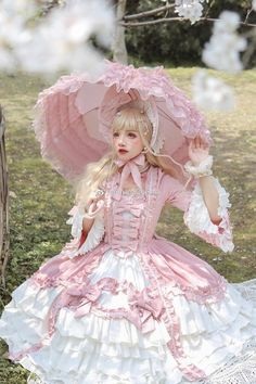 Vintage Hinana -Rococo- Vintage Classic Lolita OP Dress (Preorder - 9 Colors Available) - Harajuku Girls, Harajuku Fashion, Kawaii Fashion, Pink Fashion, Cute Fashion, Fashion Outfits, Fashion Boots, Fashion 2020, Retro Fashion