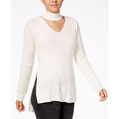 Planet Gold Juniors' Cutout Turtleneck Sweater ($30) ❤ liked on Polyvore featuring tops, sweaters, egret, turtle neck sweater, white pullover sweater, white turtleneck top, white turtleneck and cut-out shoulder sweaters