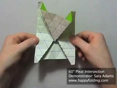 This video demonstrates how to fold a 60 degree pleat intersection. It is performed when pleats on a triangle grid intersect, and thus several layers of pape. Origami And Kirigami, Origami Paper Art, Origami Videos, 60 Degrees, Triangle, Make It Yourself, Projects, Happy, Youtube