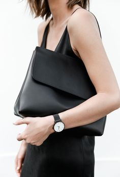 Black Leather Clutch - chic style, understated accessories
