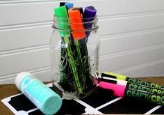 Create a Savings Jar with Chalkboard Labels - House of Faucis Savings Jar, Chalkboard Labels, Ways To Save Money, Water Bottle, Drinks, Create, Drinking, Water Flask, Drink