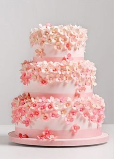 Delicate pink sugar flowers make this cake feminine, fun, and full of spring spirit.