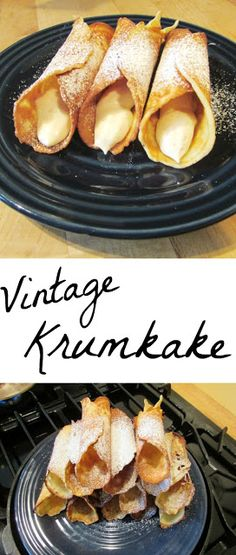 Krumkake - A Baking Day with Aunt Donna and Grandma I love trying out vintage recipes. So when my grandma brought over my great-grandma's krumkake iron, I was in heaven. We had a great time making the cookies and catching up! Baking Recipes, Snack Recipes, Dessert Recipes, Xmas Desserts, Snacks, Norwegian Food, Norwegian Recipes, Norwegian Cuisine, Krumkake Recipe