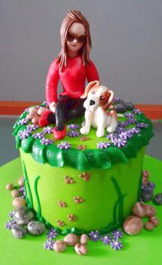 tarta paseando a mi perrito  De Perla's   Tartas fondant personalizadas en Málaga