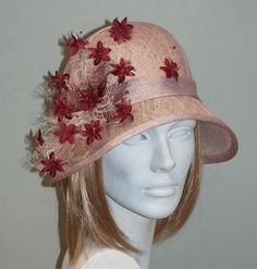 Romantic pink vintage style cloche hat for women - Pink hat for weddings 1dcbfad408a4