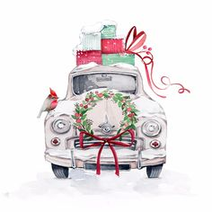 Victoria Nelson Illustration hand painted watercolours Christmas presents car design