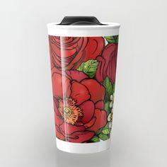 Wild Roses Travel Mug by Salome | Society6