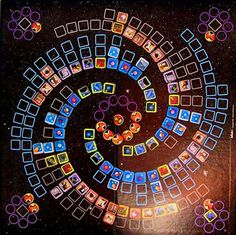 The name of the game is Infinity: Recreate The Heavens And The Earth. This is a rather trippy game with great graphic design. I love the playing board, with a galaxy outlined in logarithmic spirals. Each player takes the part of a deity creating a universe. They race to create solar system and planets, develop life, and strive to evolve the life forms to intelligence. Meanwhile they do their best to sabotage their opponent's universes. Sadly the game went out of print in the late 1970's… Board Game Pieces, Game Boards, Evolve Game, Logarithmic Spiral, Future Games, Life Form, Game Ui, Epic Games, Heavens