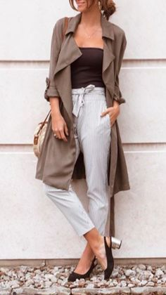 Forest green trench with belt / business casual / summer fashion / street style / Heatonminded / Green Outfits, Street Style Summer, Casual Summer, Business Casual, Different Styles, Trench, Belt, Pants, Fashion