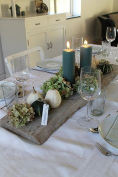 Love this look for a Thanksgiving or a fall dinner gathering. Green always says life to us. & The post Love this look for a Thanksgiving or a fall dinner gathering. Green always says & appeared first on Dekoration. Fall Table, Thanksgiving Table, Thanksgiving Decorations, Christmas Decorations, Holiday Decor, Fall Planters, Christmas Planters, Outdoor Planters, Christmas Candles