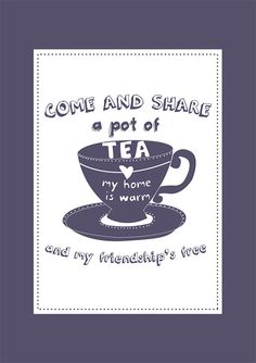 Tea Print 'Come and share a pot of tea my home by designedbywink