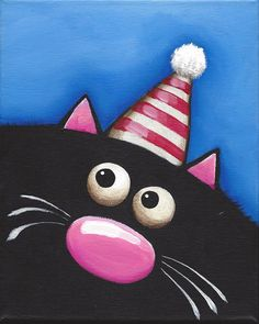 Original acrylic canvas painting whimsical black fat cat art party red hat (1) #Modernism