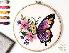 Discover recipes, home ideas, style inspiration and other ideas to try. Butterfly Cross Stitch, Cross Stitch Flowers, Butterfly Embroidery, Modern Cross Stitch Patterns, Cross Stitch Designs, Cross Stitching, Cross Stitch Embroidery, Embroidery Patterns, Flower Patterns