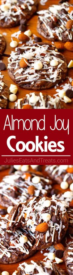 Almond Joy Cookies Recipe ~ Start with a box of Brownie Mix! The perfect mix of coconut, nuttiness and chocolate just like an Almond Joy Candy Bar! ~ http://www.julieseatsandtreats.com