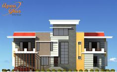 Modern Duplex House Design in 450 sq mt area (18m X 25m).  An Online Complete Architectural Solution Provider Company Click this link to view more details - http://www.apnaghar.co.in/search-results.aspx  Call Toll-Free No.- 1800-102-9440 Email: support@apnaghar.co.in #Architects #DuplexHouse