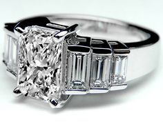 Radiant Cut Diamond Engagement Ring Step Up Baguettes