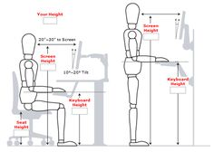 "Correct desk, chair, or standing desk height is imperative to a healthy and ergonomic office. Have you asked yourself, ""how tall should my desk be?"" Then check out our table that helps you calculate the best desk height for you. Diy Standing Desk, Standing Desk Height, Setup Desk, Desk Chair, Swivel Chair, Office Furniture, Office Desk, Ikea Office, Interior Office"