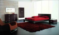 Bedroom, Nice Modern Bathroom Design With Maroon Carpet Plus Black Bed Frame Also Red Bed Cover And Pillows: Get More Function Than Number A...