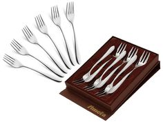 Widelczyki do ciasta Amefa Chopin 8420 deserowe 6 szt w pudełku stal 18/10 Tableware, Kitchen, Dinnerware, Cooking, Tablewares, Kitchens, Dishes, Cuisine, Place Settings