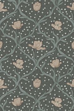 A beautiful trailing floral wallpaper design with a trellis style formation.