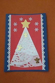 Papiernictvo - vianočný pozdrav - biely stromček - 6026226_