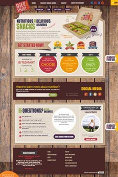 BiteSmart ecommerce website using Magento Snack Box, Rachel Green, Yummy Snacks, Ecommerce, Promotion, Web Design, Anna, Nutrition, Social Media