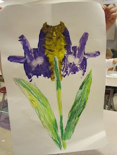 purple iris, kindergarten, symmetry, paint and fold technique  use with Van Gogh Iris unit