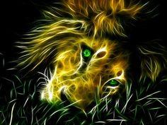 Sleepy Fractal African Male Lion.