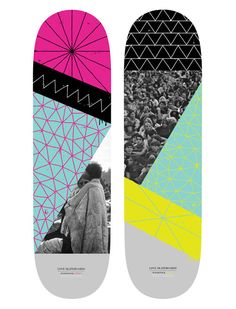 The combination of geometric shapes and lines and the photographs is interesting. I don't know how effective it would be in selling for a skateboard. The color scheme and design for it is really strange; it seems so jumbled around and random. It is interesting but I think, overall, it is in effective.