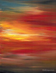 «COLOR INTOXICATION 1 Colorcul Bold Deep Garnet Crimson Red Yellow Black Sunrise Sunset Ombre Abstract Acrylic Painting» de EbiEmporium