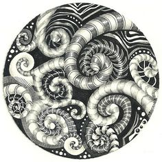 Spirals plus Tangles: Black Pearlz and... not much else. Except stripes. I've always loved stripes.
