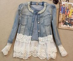 lace jean jacket on sale at reasonable prices, buy 2017 Women Denim Jacket Long Sleeve Lace Jeans Jackets Female Oversized Jean Coat Girls Outerwear Abrigos Mujer jaqueta feminina from mobile site on Aliexpress Now! Vintage Jacket, Vintage Jeans, Vintage Coat, Diy Vetement, Dresses For Less, Refashioning, Creation Couture, Denim And Lace, White Denim