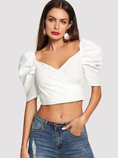 herbst backen Shop Knot Back Puff Sleeve Crop Top online. SheIn offers Knot Back Puff Sleeve Crop Top & more to fit your fashionable needs. Fall Fashion Outfits, Fall Fashion Trends, Look Fashion, Trendy Fashion, Autumn Fashion, Fashion Dresses, Diy Outfits, Stylish Outfits, Fashion Women