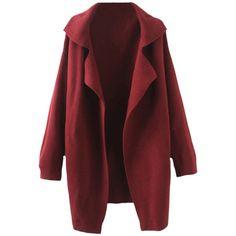 Blackfive Lapels Md-long Knitting Coat featuring polyvore fashion clothing outerwear coats jackets tops burgundy coat long red coat lapel coat knit coat long coat
