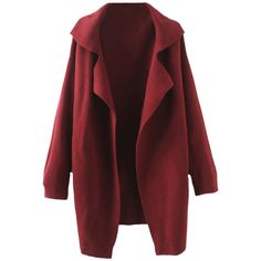 Blackfive Lapels Md-long Knitting Coat (1 000 UAH) ❤ liked on Polyvore featuring outerwear, coats, jackets, coats & jackets, long red coat, lapel coat, knit coat, long knit coat and long coat