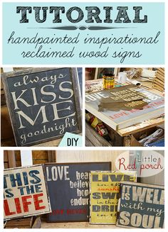 DIY: How to make a handpainted rustic signs~ These would make great gift ideas for a new neighbor, new bride or even the holidays! Diy Projects To Try, Crafts To Make, Fun Crafts, Craft Projects, Arts And Crafts, Decoupage, Rustic Signs, Wood Signs, Pallet Signs