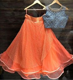 Beautiful Organza Lehenga with Hand Embroidered blouse. Kids Party Wear Dresses, Kids Dress Wear, Dresses Kids Girl, Kids Blouse Designs, Choli Designs, Lehenga Designs, Indian Western Dress, Dress Indian Style, Simple Lehenga