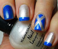 white polish is Kleancolor ~ Metallic White, and the blue is China Glaze ~ Blue Sparrow. The saltire X is done with sellotape, and the french tips freehanded. Funky Nail Art, Funky Nails, Cool Nail Art, Trendy Nails, White Tip Nails, French Tip Nails, Blue Nails, French Tips, Gell Nails