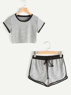 Camiseta corta con shorts con ribete delfín en contraste-Spanish SheIn(Sheinside)