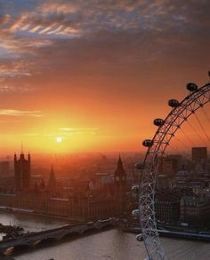 Beautiful sunrise with the London Eye in front London Eye, Oh The Places You'll Go, Places To Travel, Places To Visit, London Calling, London United Kingdom, A Course In Miracles, Beautiful Sunrise, Road Trip Usa