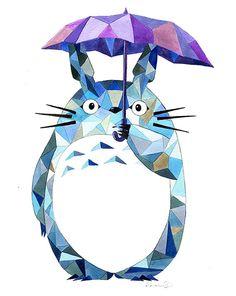 Geometric Totoro Print  - Blue - Studio Ghibli - My Neighbor Totoro - Geekery - Gifts - Watercolor