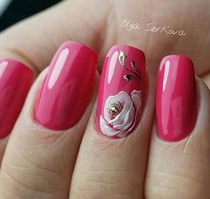 Nail art Christmas - the festive spirit on the nails. Over 70 creative ideas and tutorials - My Nails Rose Nails, Flower Nails, Trendy Nail Art, Stylish Nails, Pink Nail Art, Pink Nails, French Nails, French Manicures, Acrylic Nail Designs