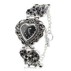 naisten metalliseos analoginen kvartsi rannerengas katsella sydämen muotoinen kotelo (hopea)
